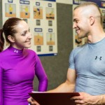 Personal training with client